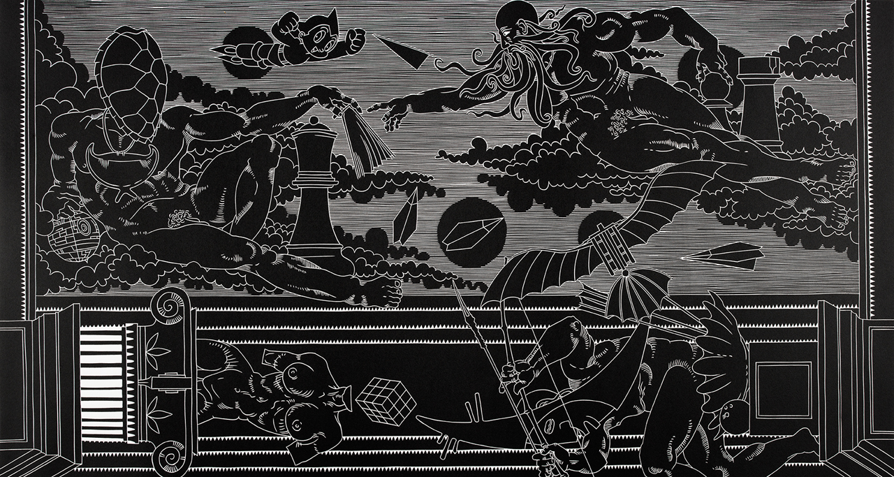 Robinson, Brian (1973, Torres Strait Islander) Up in the Heavens 2015 linocut image 60.0cm (H) x 113.5cm (W) sheet 76.0cm (H) x 121.5cm (W) 2015.0024.000.000 Baillieu Library Print Collection, University of Melbourne. Purchased, 2015.