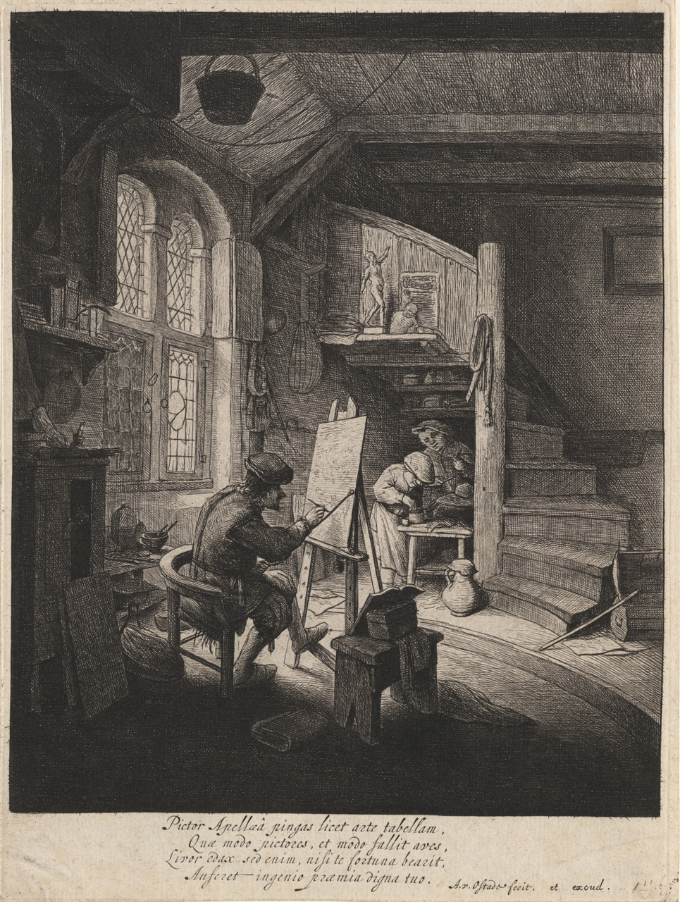 Ostade, Adriaen Van (Etcher, 1610-85) The Painter (c.1647) etching and drypoint plate 23.4 x 17.4 1979.2050.000.000 Baillieu Library Collection, the University of Melbourne.