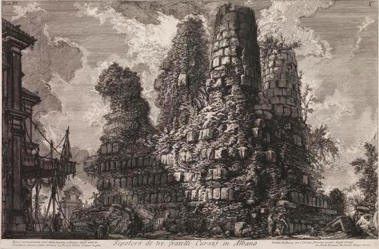 Piranesi, Giovanni Battista (1720-1778) Tomb of the three Curatii brothers in Albano (Sepulcro de'tre fratelli Curazj in Albano) (1740-78) engraving plate 39.9cm (H) x 60.7cm (W) sheet 55.5cm (H) x 79.5cm (W) 1984.2031.000.000 Baillieu Library Collection, the University of Melbourne. Acquired 1983.
