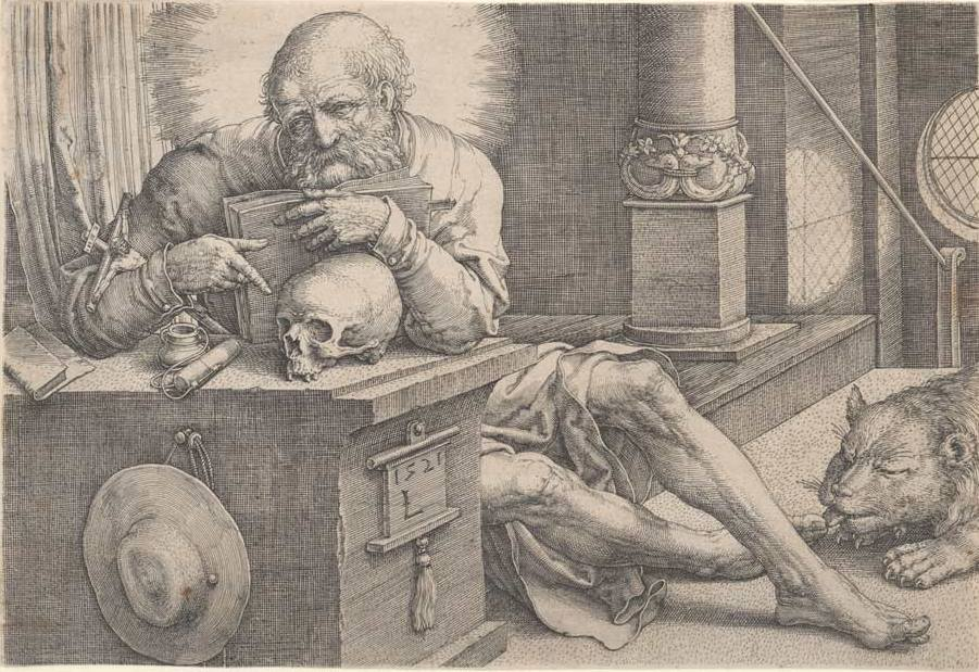 Leyden, Lucas Van (1494-1538) St. Jerome 1521 engraving image (sheet trimmed to image) 10.0cm (H) x 14.6cm (W) 1959.3203.000.000 Baillieu Library Print Collection, the University of Melbourne. Gift of Dr J. Orde Poynton 1959.