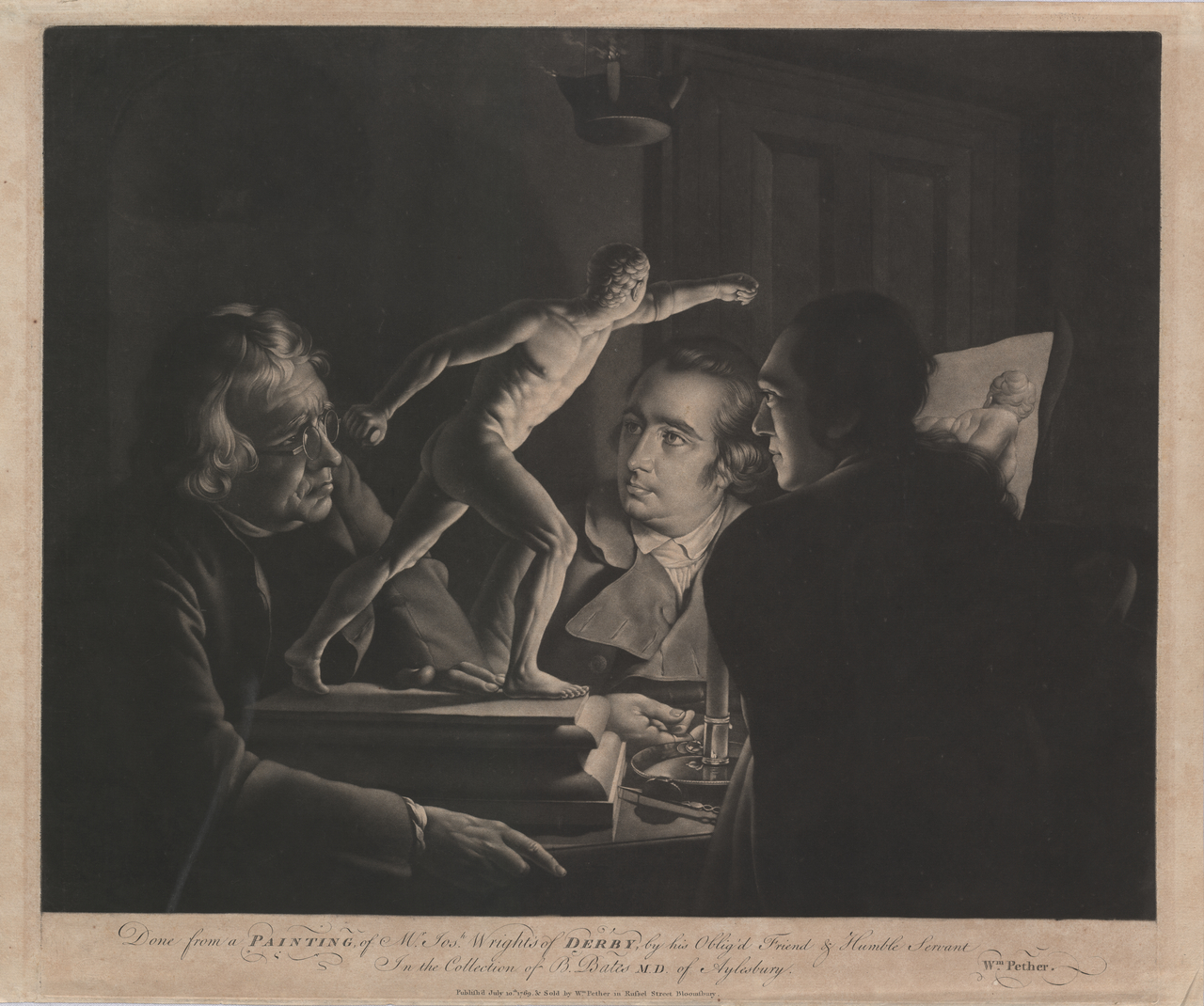 Pether, William (Mezzotinter, 1731-95) Wright, Joseph (Artist, 1734-1797) Three Persons Viewing the Gladiator By Candlelight 1769 mezzotint plate 48.1 x 55.7 1959.3510.000.000 Baillieu Library Print Collection, the University of Melbourne. Gift of Dr J. Orde Poynton 1959.