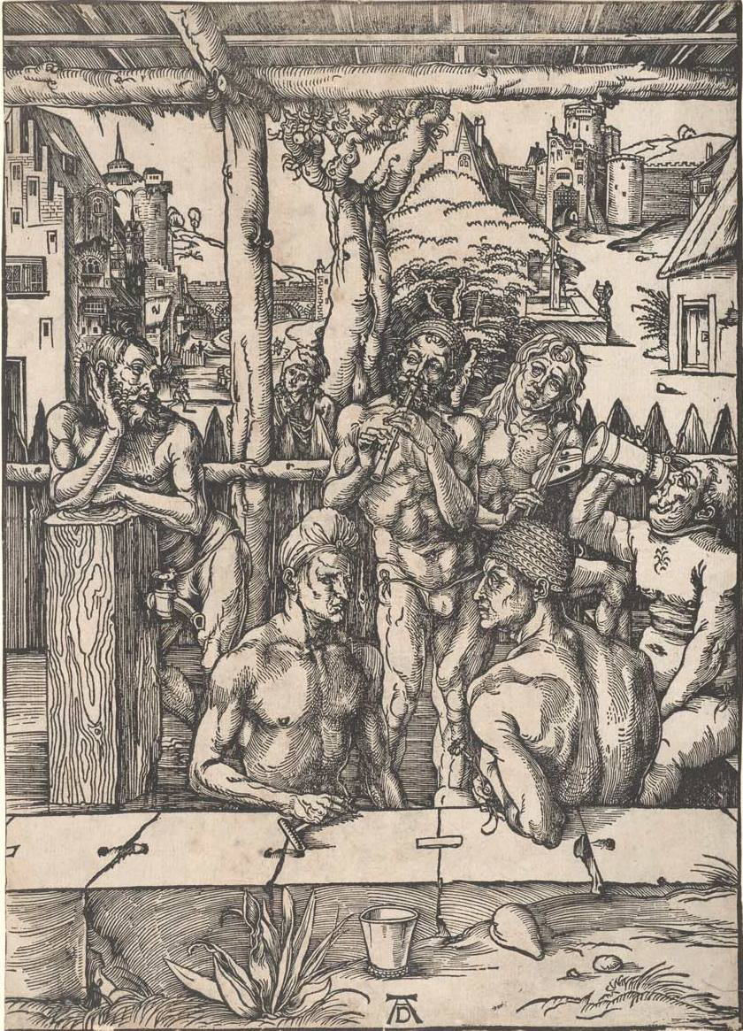 Dürer, Albrecht (1471-1528) The bath house (c. 1496) woodcut image (sheet trimmed to image) 39.3cm (H) x 28.2cm (W) 1959.2141.000.000 Baillieu Library Print Collection, the University of Melbourne. Gift of Dr J. Orde Poynton 1959.
