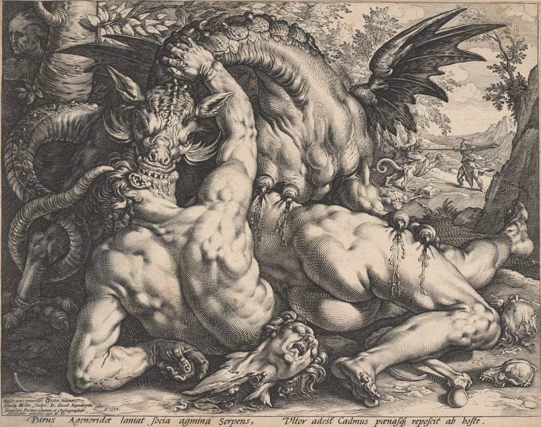 Goltzius, Hendrick (1558-1617) Cornelisz. van Haarlem, Cornelis (Artist, 1562-1638) The Dragon Devouring the Companions of Cadmus 1588 engraving image (sheet trimmed to image) 25.1cm (H) x 31.7cm (W) sheet (adhered) 32.8cm (H) x 43.0cm (W) 1959.2534.000.000 Baillieu Library Print Collection, the University of Melbourne. Gift of Dr J. Orde Poynton 1959.