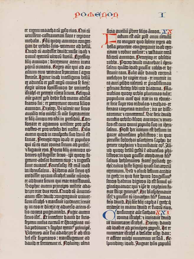 [Biblia Latina], one leaf (page from the 'Gutenberg Bible')