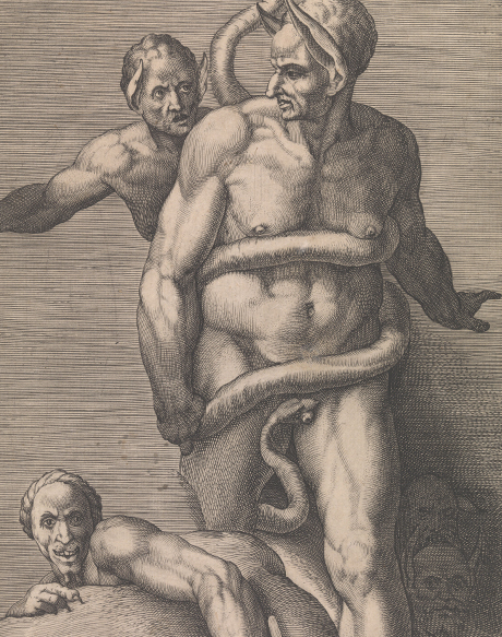 Cherubino Alberti, Several Demons, 1575, after Michelangelo, engraving, image: 31.1 x 20.9, sheet: 32.5 x 21.5cm, reg. no. 1959.2147, gift of Dr J. Orde Poynton, 1959, Baillieu Library Print Collection, University of Melbourne