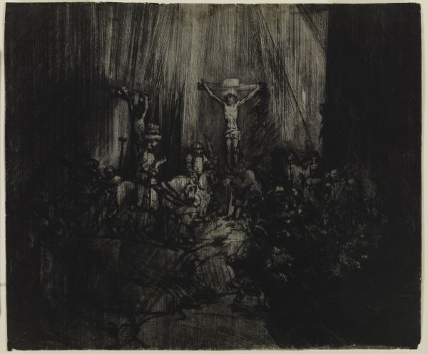 Rembrandt van Rijn (1606-1669) Christ Crucified Between the Two Thieves :
