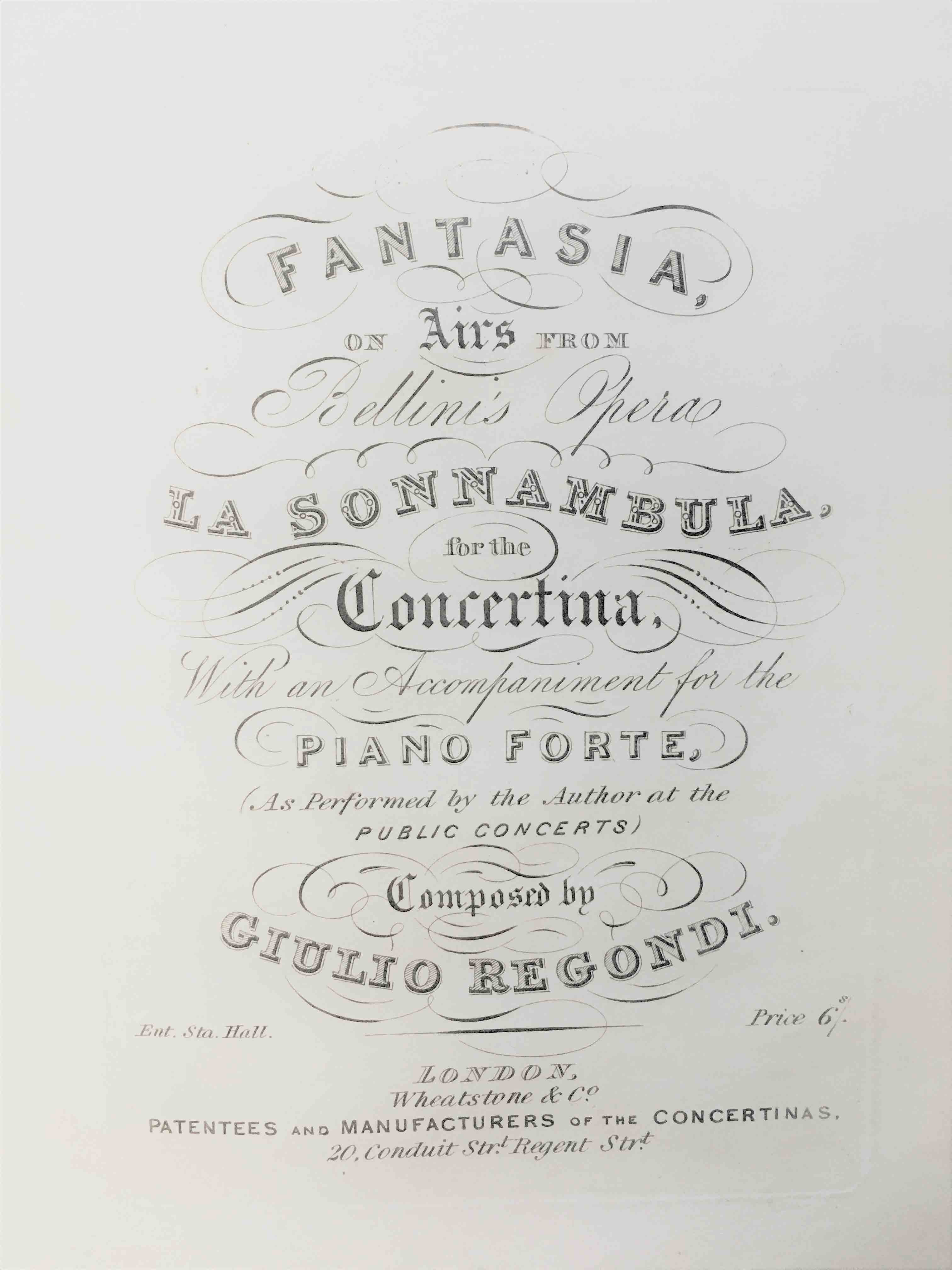 UniM Bail Music RB  XHP CAS.1 <br> Giulio Regondi, composer ; Vincenzo Bellini, composer <br> Fantasia on airs from Bellini's opera La Sonnambula<br> London , [ca 1855] <br> Bound volume of concertina music and a concertina method