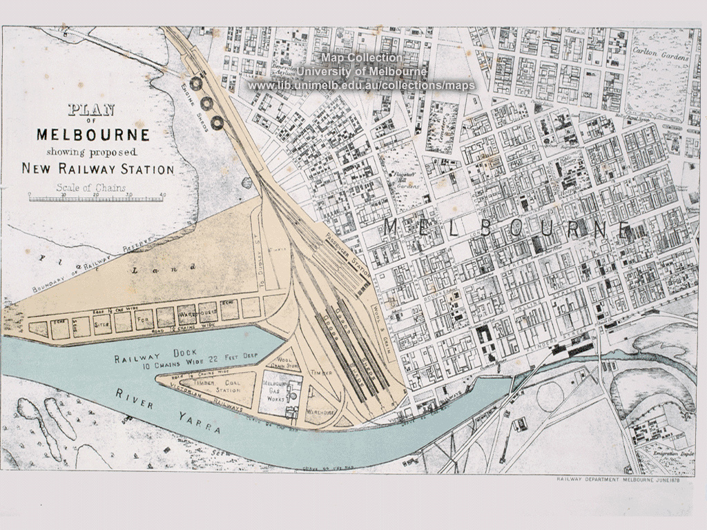 Historical map desktop wallpaper library a plan of melbourne showing a proposed new railway station 1878 gumiabroncs Choice Image