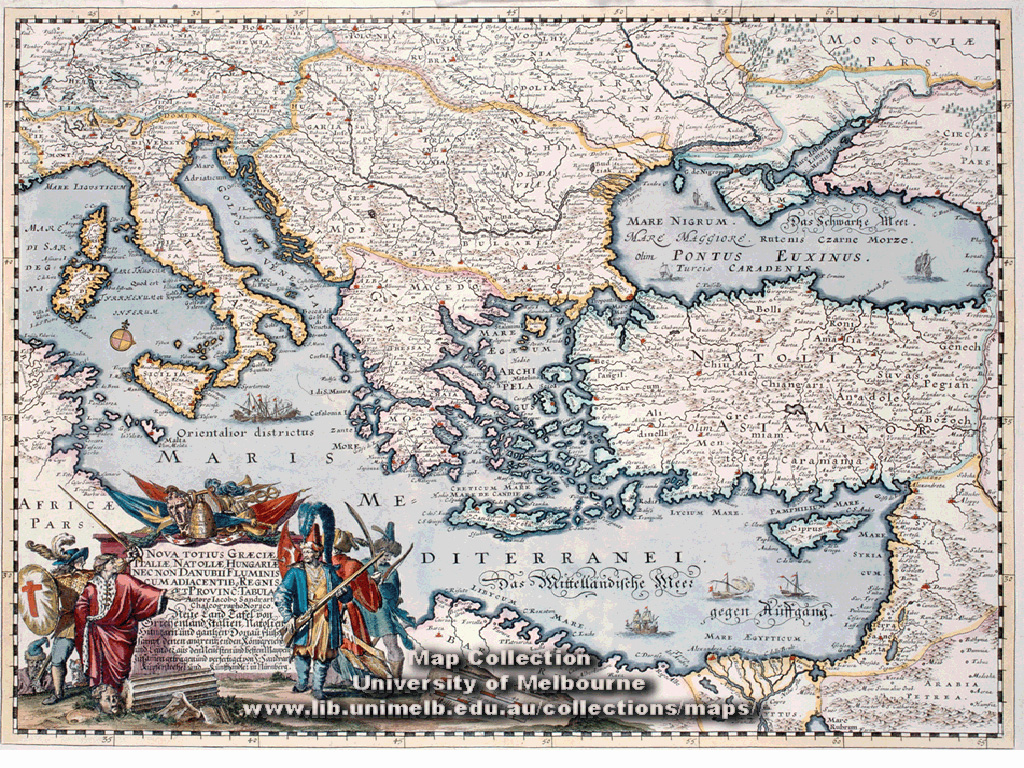 Historical map desktop wallpaper library map of greece italy and hungary including the danube river 1660 gumiabroncs Gallery