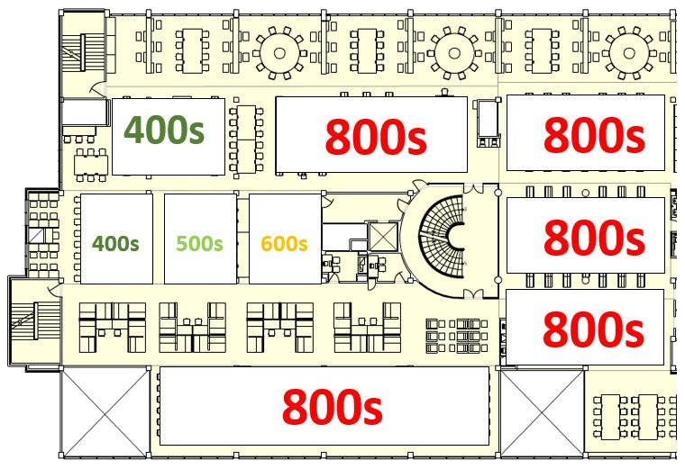 Books from 400-699 and 800-899 have been relocated to the south and central part of level 2