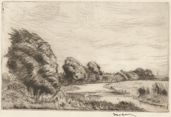 Brown, Henry James Stuart (1871-1941) Windy day at Earith 1919 etching drypoint plate 11.8cm (H) x 18.2cm (W) sheet 13.2cm (H) x 19.9cm (W) 1964.2112.000.000 Baillieu Library Collection, the University of Melbourne. Bequest of Mrs L.I. Wright 1964.