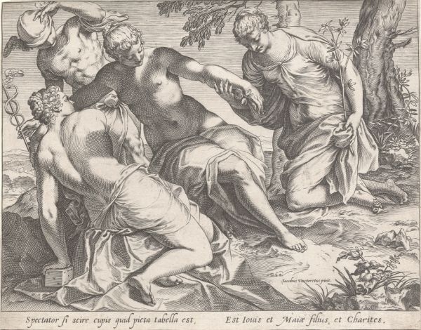 Carracci, Agostino (1557-1602) Tintoretto, Jacopo (Artist, 1519-1594) Mercury and the Graces (c. 1589) engraving image (sheet trimmed to image) 20.2cm (H) x 25.6cm (W) 1991.2009.000.000 Baillieu Library Collection, the University of Melbourne. Purchased 1991.
