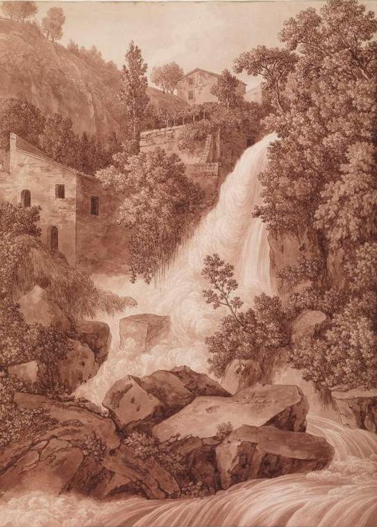 Hackert, Jacob Philipp (1737-1807) Arpino 1793 sepia watercolour sheet 64.4 x 47.0 1959.0045.000.000 Baillieu Library Print Collection, the University of Melbourne. Gift of Dr J. Orde Poynton 1959.