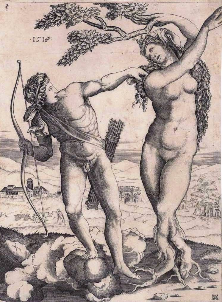 Musi, Agostino (1490-1540) Raimondi, Marcantonio (1480-1527-34) Bandinelli, Baccio (Artist, 1493-1560) Apollo and Daphne 1515 engraving image (sheet trimmed to image) 23.0cm (H) x 16.8cm (W) 1959.3397.000.000 Baillieu Library Print Collection, the University of Melbourne. Gift of Dr J. Orde Poynton 1959.