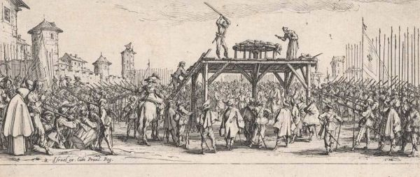 Callot, Jacques (1592-1635) The wheel (La roue) (1633) etching image (sheet trimmed to image) 8.3cm (H) x 18.5cm (W) 1959.2124.000.000 Baillieu Library Print Collection, the University of Melbourne. Gift of Dr J. Orde Poynton 1959.