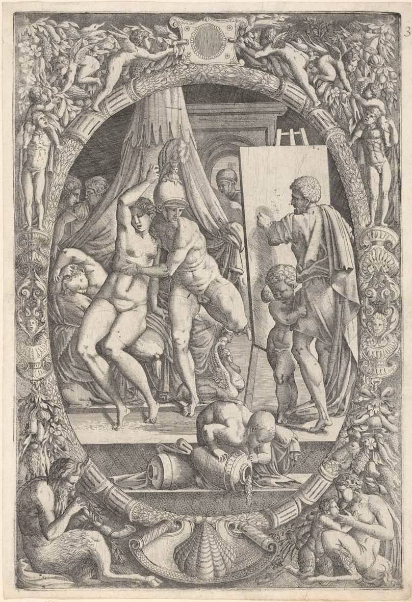 Master Iqv Primaticcio, Francesco (Artist, 1504-70) Apelles Painting Campaspe (1542-47) engraving plate 44.7cm (H) x 31.1cm (W) sheet 46.0cm (H) x 31.8cm (W) sheet (adhered) 55.4cm (H) x 44.2cm (W) 1959.4632.000.000 Baillieu Library Print Collection, the University of Melbourne. Gift of Dr J. Orde Poynton 1959.