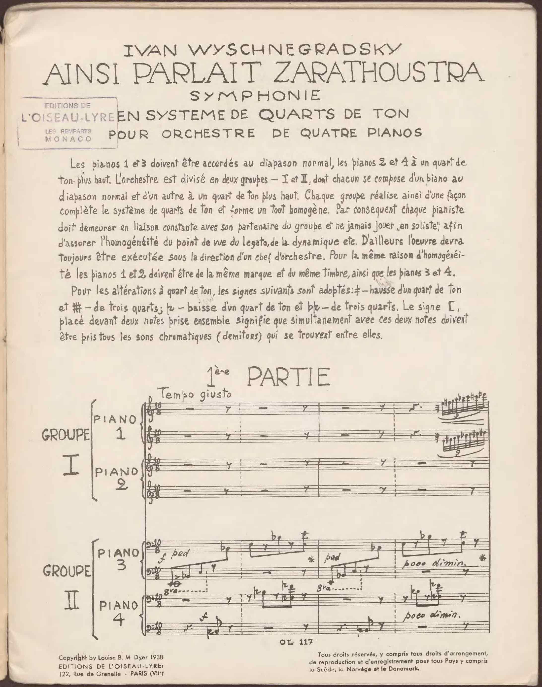 UniM Bail Music  RB  EOLA MU224 <br> Ivan Wyschnegradsky, composer ; Louise Hanson-Dyer, publisher <br> Ainsi parlait Zarathoustra: symphonie en système de quarts de ton  <br> Paris , 1938 <br> Editions de l'Oiseau-Lyre archive