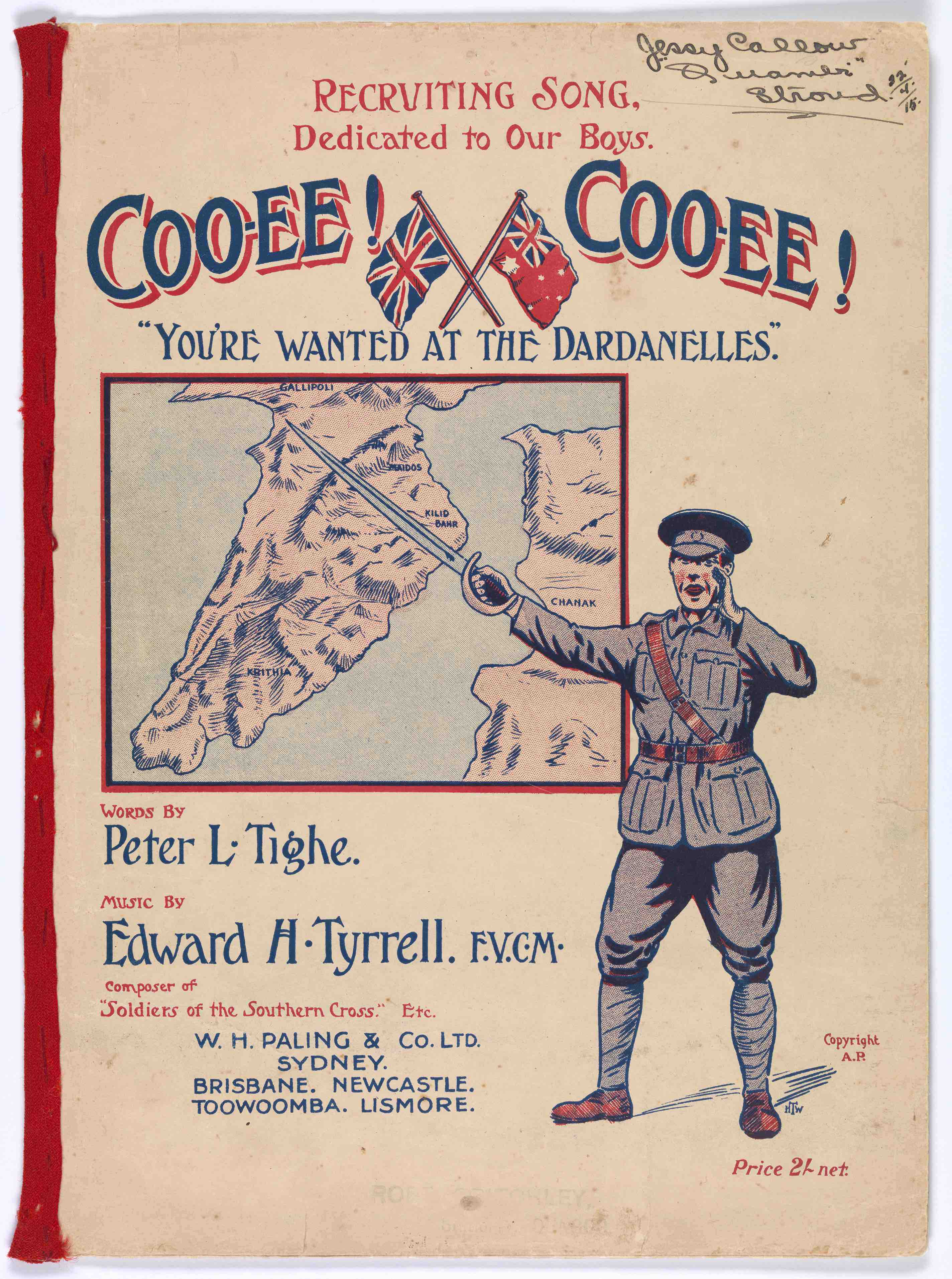 UniM Bail Music RB f  M T993 COO <br> Edward H. Tyrrell, composer ; Peter L. Tighe, lyricist <br> Coo-ee! Coo-ee! you're wanted at the Dardanelles  <br> Sydney , [1915 or 1916] <br> Australian-composed sheet music
