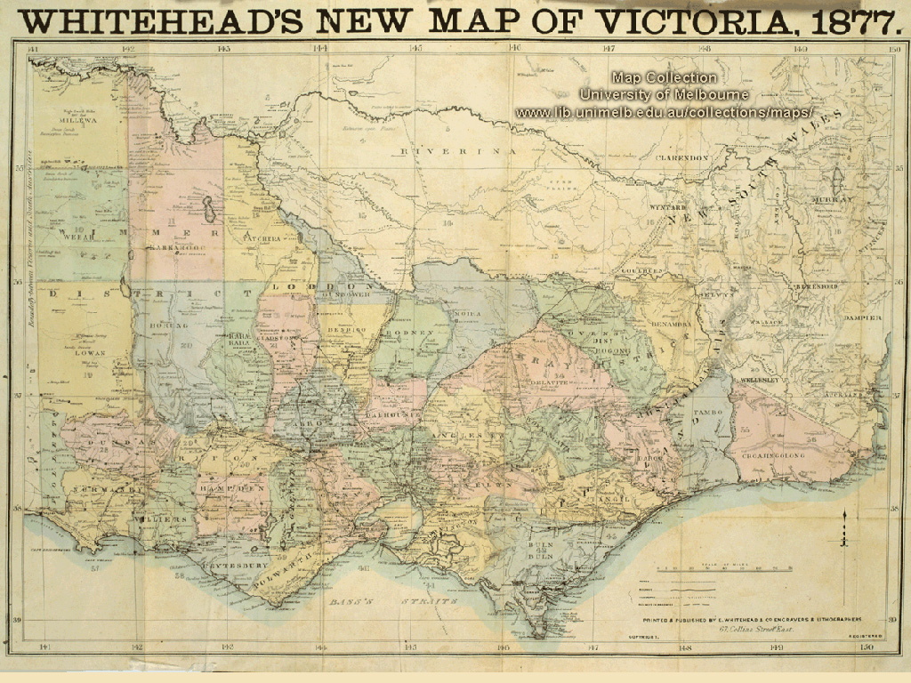 Historical map desktop wallpaper library whiteheads new map of victoria 1877 gumiabroncs Choice Image