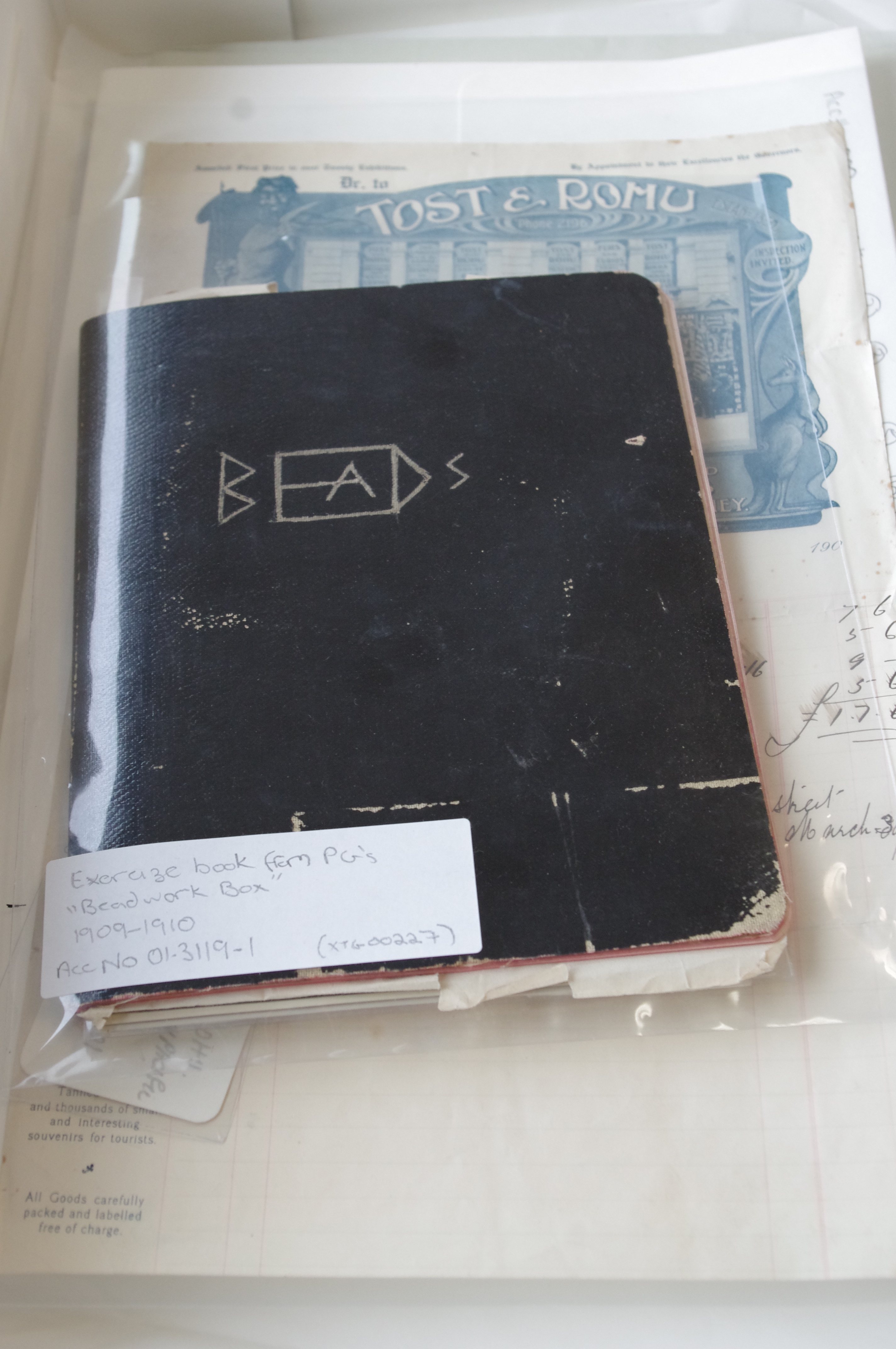 Box containing archival material related to Percy Grainger's beadwork