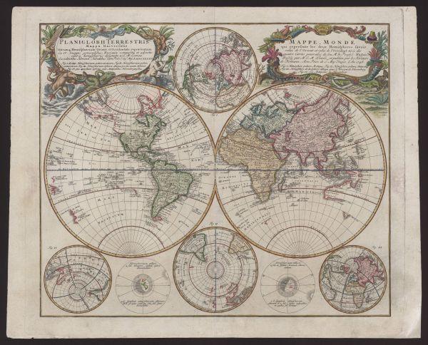 Planiglobii terrestris mappa universalis utrumq[ue] hemispærium orient et occidentale repræsentalis ex IV. mappis generalibus