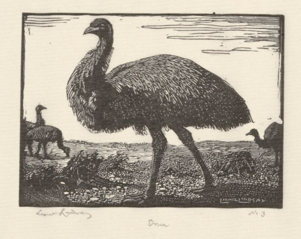 Lindsay, Lionel (Engraver, 1874-1961) The Emu 1923 wood engraving comp. 5.3 x 7.2 1964.2321.000.000 Baillieu Library Collection, the University of Melbourne. Bequest of Mrs L.I. Wright 1964.