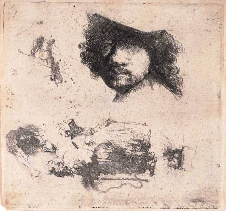 Rembrandt van Rijn (1606-1669) Sheet of studies: head of the artist, a beggar couple, heads of an old man and old woman, etc. (c. 1632) etching plate 9.9cm (H) x 10.5cm (W) sheet 10.2cm (H) x 10.9cm (W) 1959.3714.000.000 Baillieu Library Print Collection, the University of Melbourne. Gift of Dr J. Orde Poynton 1959.