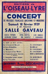 Concert de musique française ancienne et moderne, hand coloured concert poster, Editions de l'Oiseau-Lyre concert, 13 February 1939. EOL Archive 2016.0017.00002.