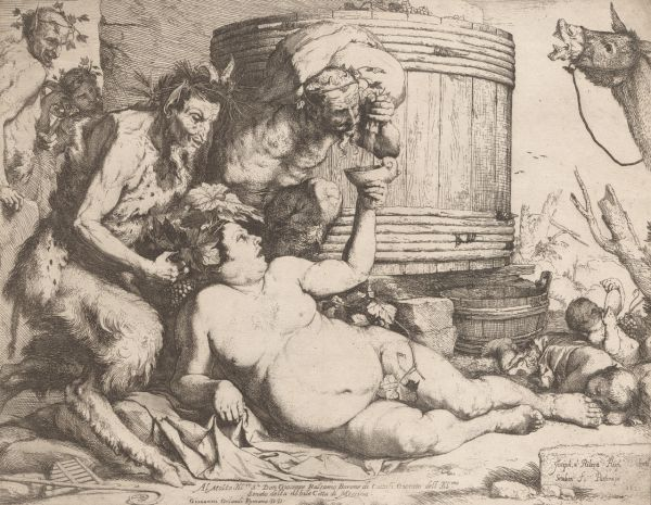 Ribera, Jusepe De (1588-1656) Silenus at the Wine Vat (1649) etching image (sheet trimmed to image) 26.7cm (H) x 34.3cm (W) 1993.2242.000.000 Baillieu Library Collection, the University of Melbourne.