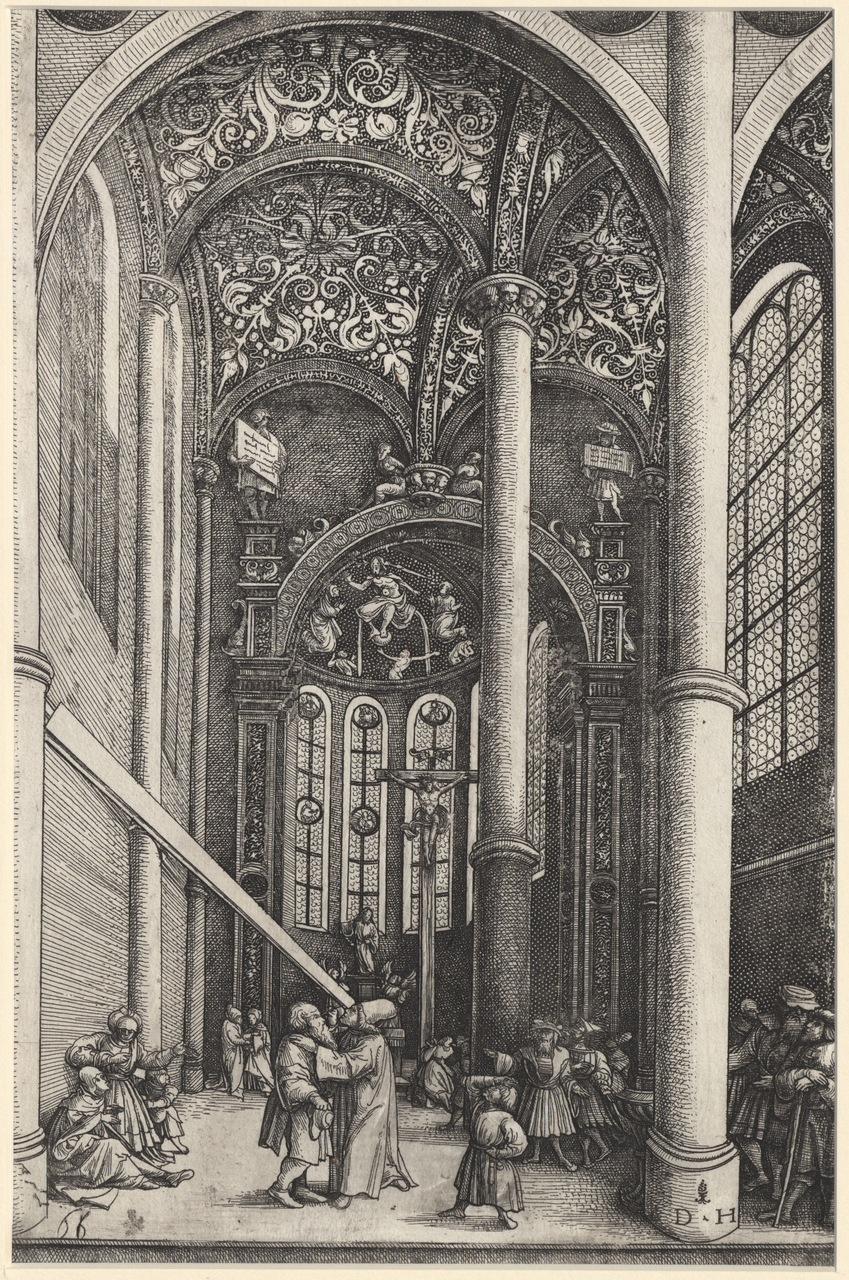 Hopfer, Daniel (c. 1470-1536) Interior of A Church With the Parable of the Mote and the Beam (c. 1530) etching sheet 29.9 x 19.9 1985.2010.000.000 Baillieu Library Collection, the University of Melbourne. Purchased 1985.