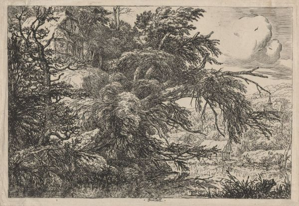 Ruisdael, Jacob van (1628-1682) The cottage at the top of a hill (c. 1660) etching image 18.5cm (H) x 27.1cm (W) plate 19.5cm (H) x 28.0cm (W) sheet 20.1cm (H) x 28.8cm (W) 1959.2942.000.000 Baillieu Library Print Collection, the University of Melbourne. Gift of Dr J. Orde Poynton 1959.