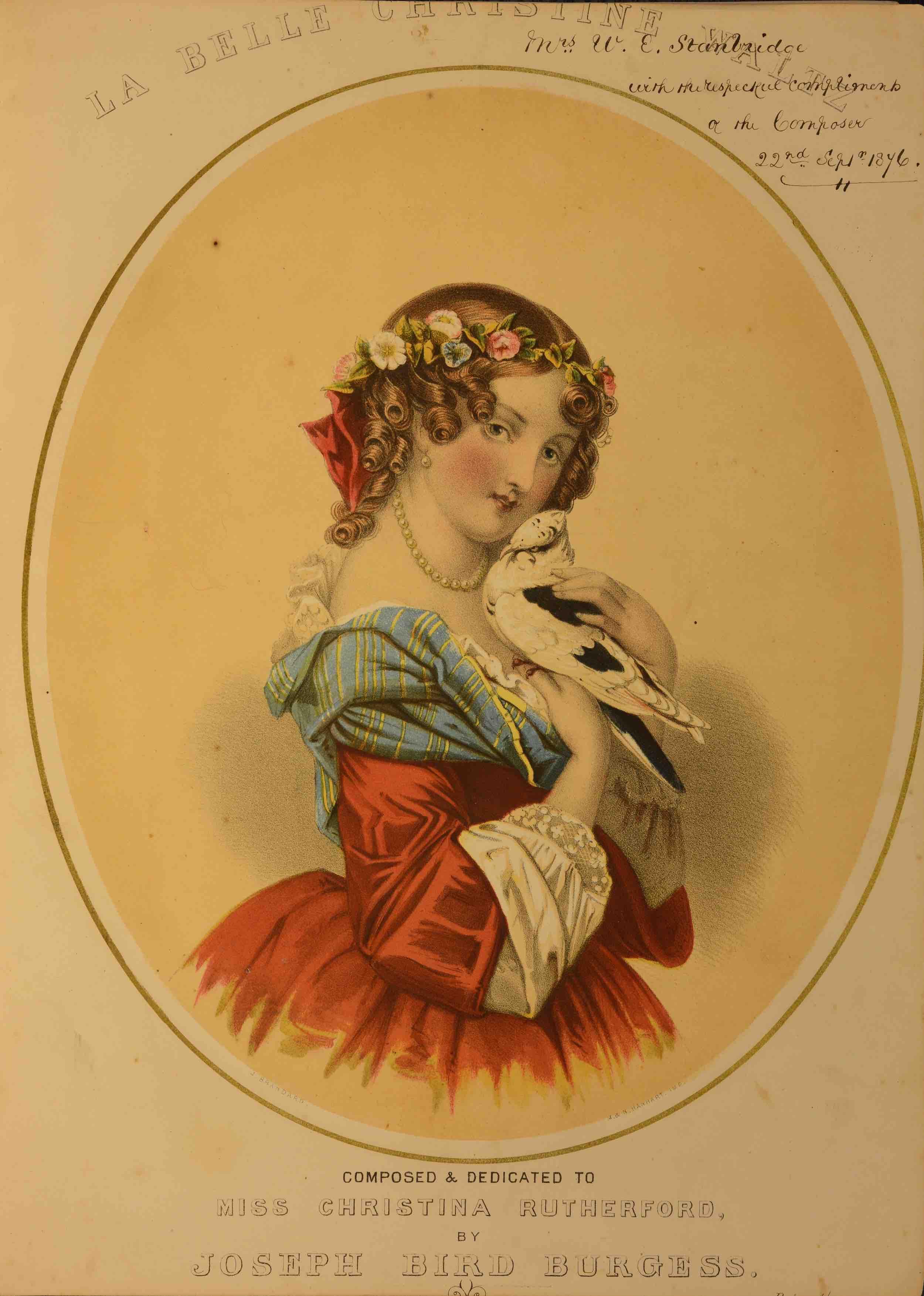 UniM Bail Music RB f  A COLL1.1 <br> Joseph Bird Burgess, composer ; John Brandard, illustrator <br> La belle Christine  <br> London , [between 1872 & 76] <br> Australian-composed sheet music
