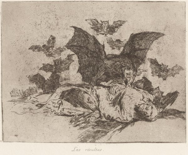 Goya, Francisco de (Etcher, 1746-1828) The consequences (Las resultas) 1863 etching plate 17.4 x 21.9 1982.2050.000.000 Baillieu Library Collection, the University of Melbourne. Purchased 1982.