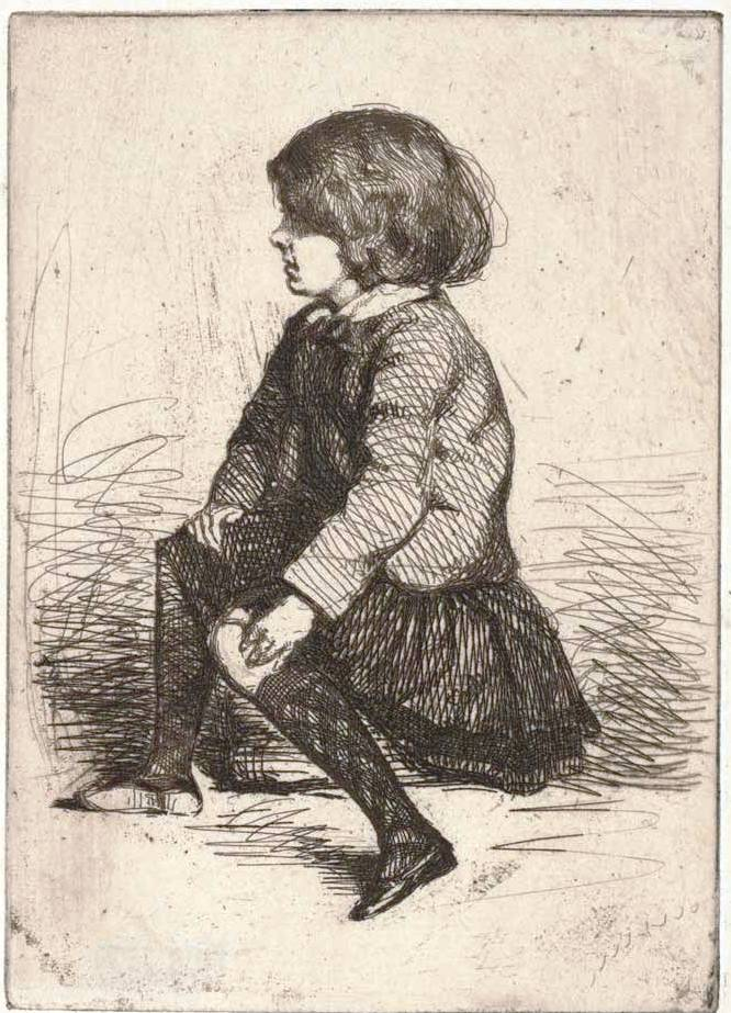 Whistler, James Mcneill (1834-1903) Seymour, seated (a little boy) (1857-58) etching plate 13.5cm (H) x 9.7cm (W) sheet (irregular) 20.5cm (H) x 13.7cm (W) 1959.2579.000.000 Baillieu Library Print Collection, the University of Melbourne. Gift of Dr J. Orde Poynton 1959.