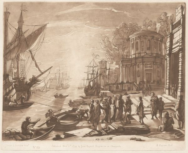 Earlom, Richard (1743-1822) Lorrain, Claude (Le) (Artist, 1600-82) Seaport with the landing of Cleopatra at Tarsus 1774 line, roulette etching image 19.4cm (H) x 25.6cm (W) plate 20.8cm (H) x 25.7cm (W) sheet 27.7cm (H) x 43.0cm (W) 1983.2013.000.000 Baillieu Library Collection, the University of Melbourne. Purchased 1983.