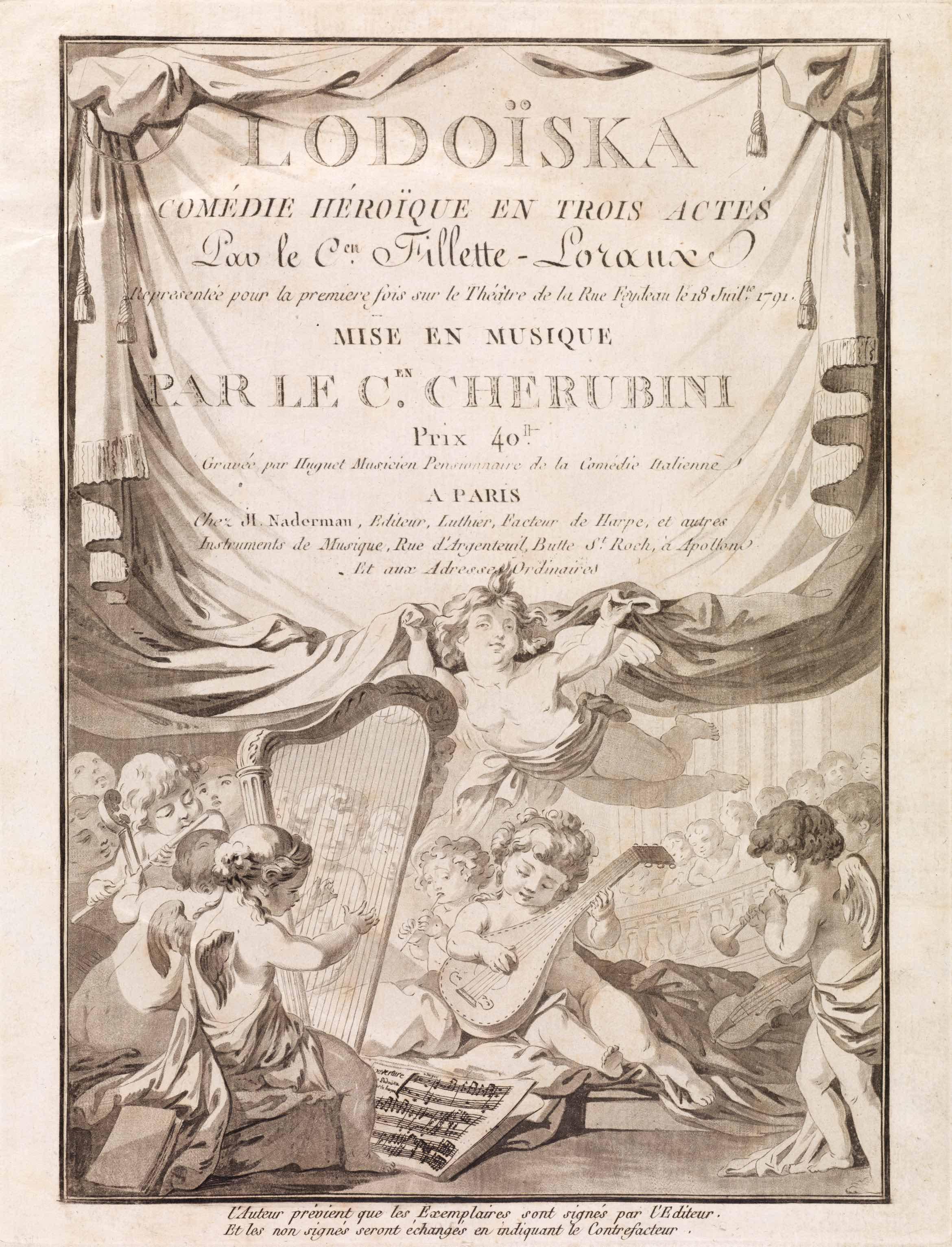 UniM Bail Music RB f  LHD 022 <br> Luigi Cherubini, composer ; [Nicolas?] Huguet, engraver <br> Frontispiece to: Lodoïska: comédie héroïque en trois actes  <br> Paris , [1792] <br> Hanson-Dyer Collection
