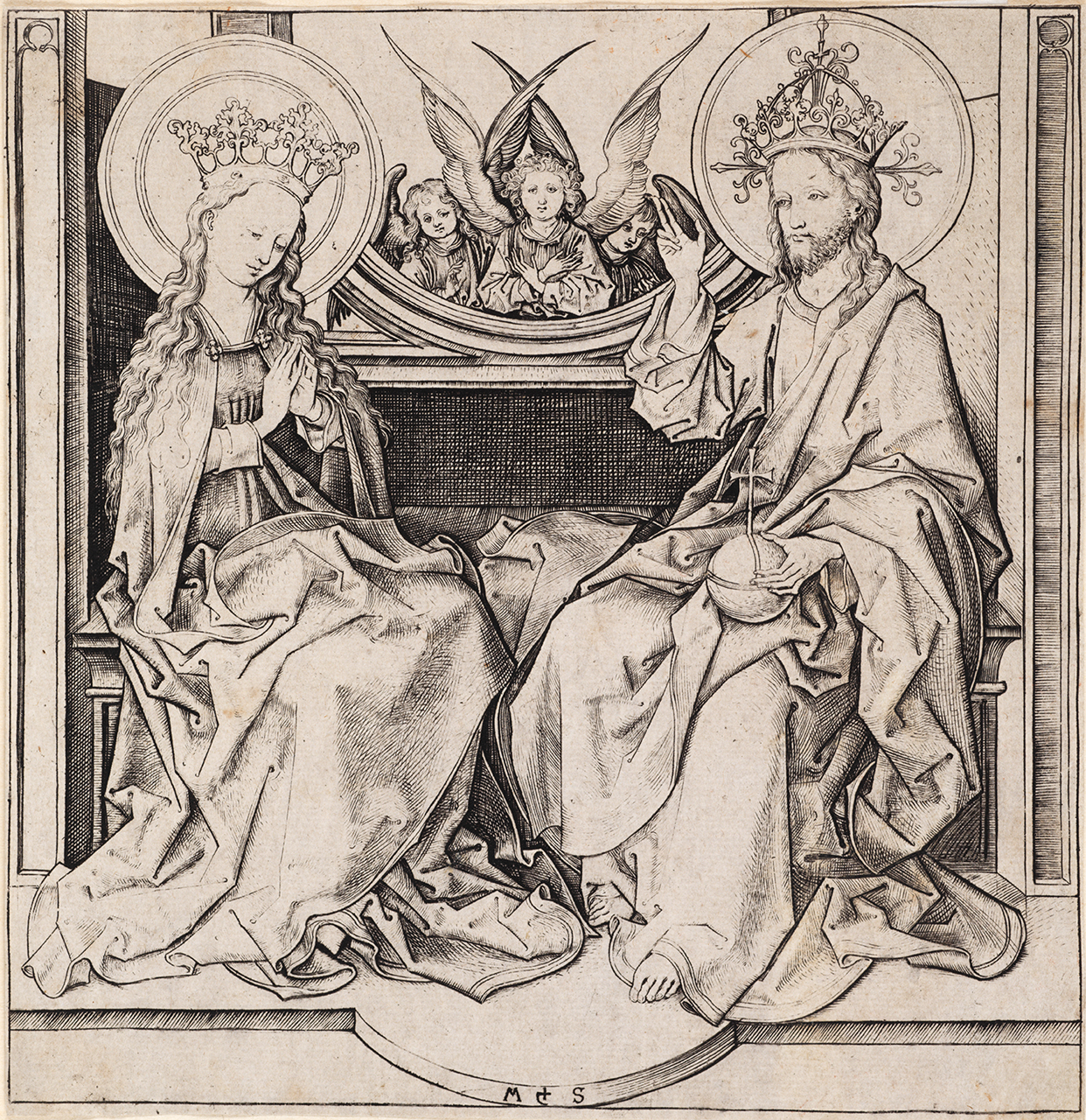 Schongauer, Martin (c. 1430-91) Christ Blessing the Virgin (1480-90) engraving image (sheet trimmed to image) 15.1cm (H) x 16.1cm (W) 2015.0025.000.000 Baillieu Library Print Collection, University of Melbourne. Purchased, 2015.