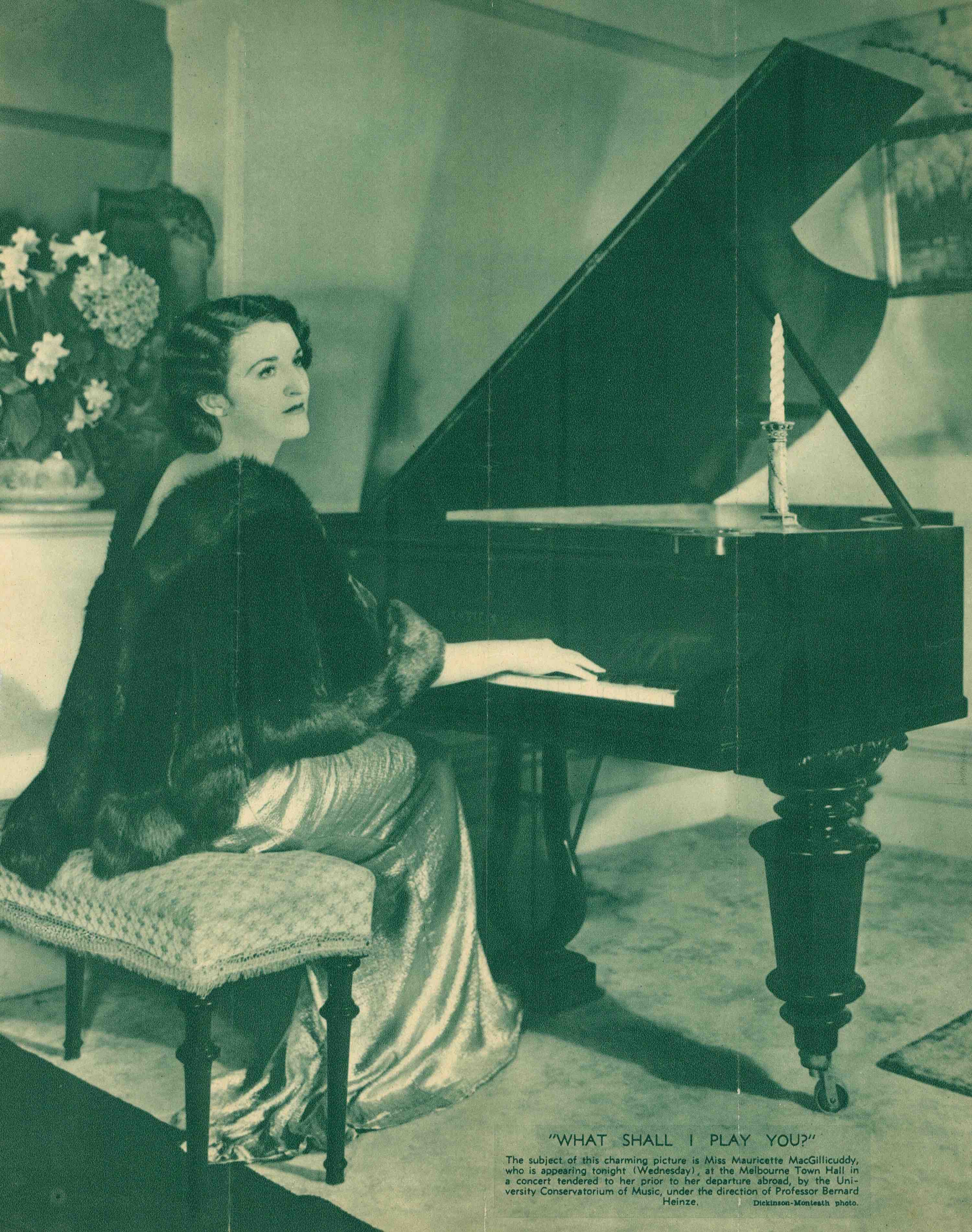 UniM Bail Music RB ef 780.78945 CONS (loose; accomp no. 5) <br> Dickinson-Monteath Studio, photographer ; Table Talk, 12 March 1936, p. V <br> Pianist Mauricette MacGillicuddy prior to her departure abroad  <br> Melbourne , 1936 <br> Press clipping