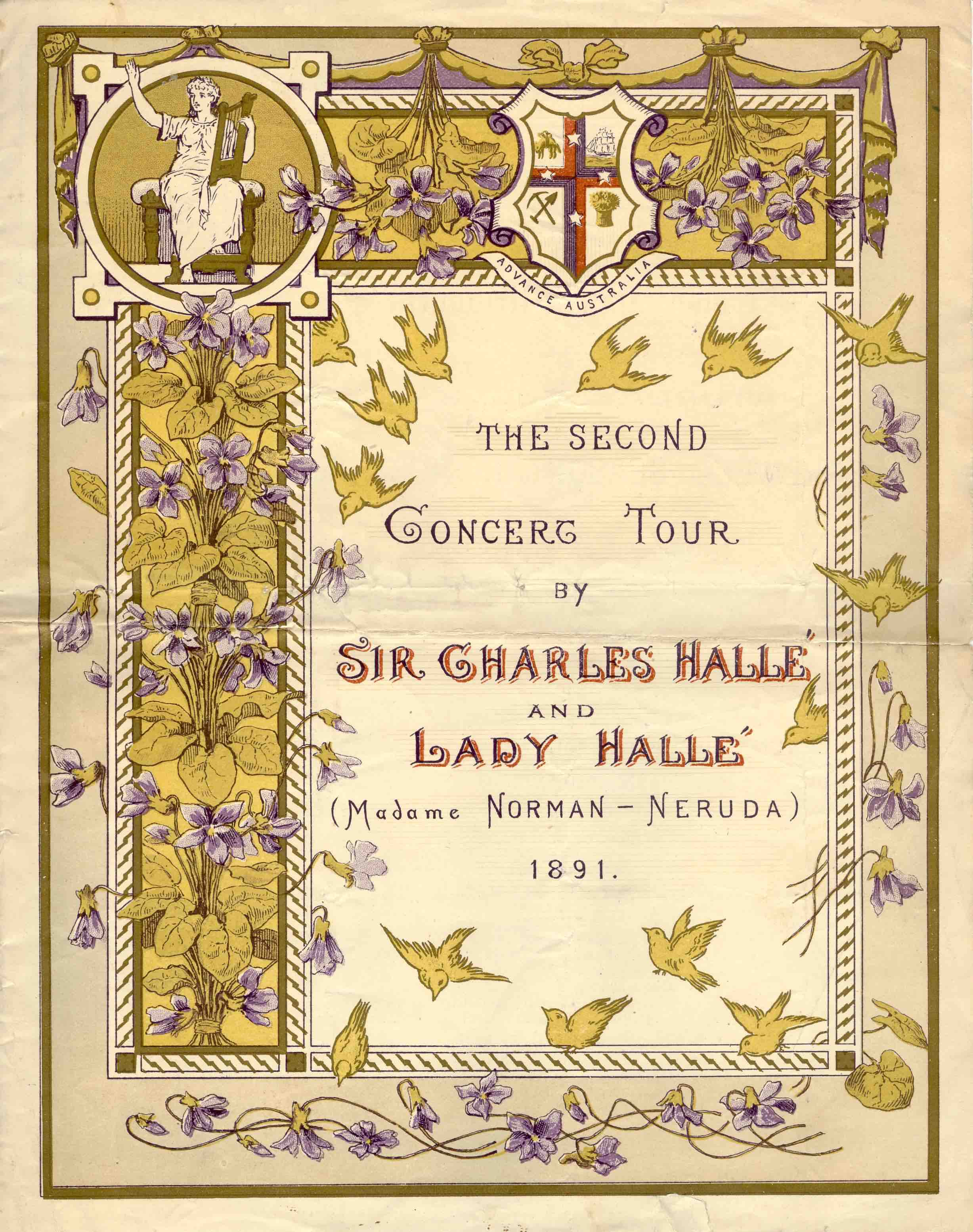 UniM Bail Music  RB  C&TPC Box 5 <br> [unknown makers] ;  <br> The second concert tour by Sir Charles Hallé and Lady Hallé  <br> Melbourne , 1891 <br> Concert and Theatre Program Collection