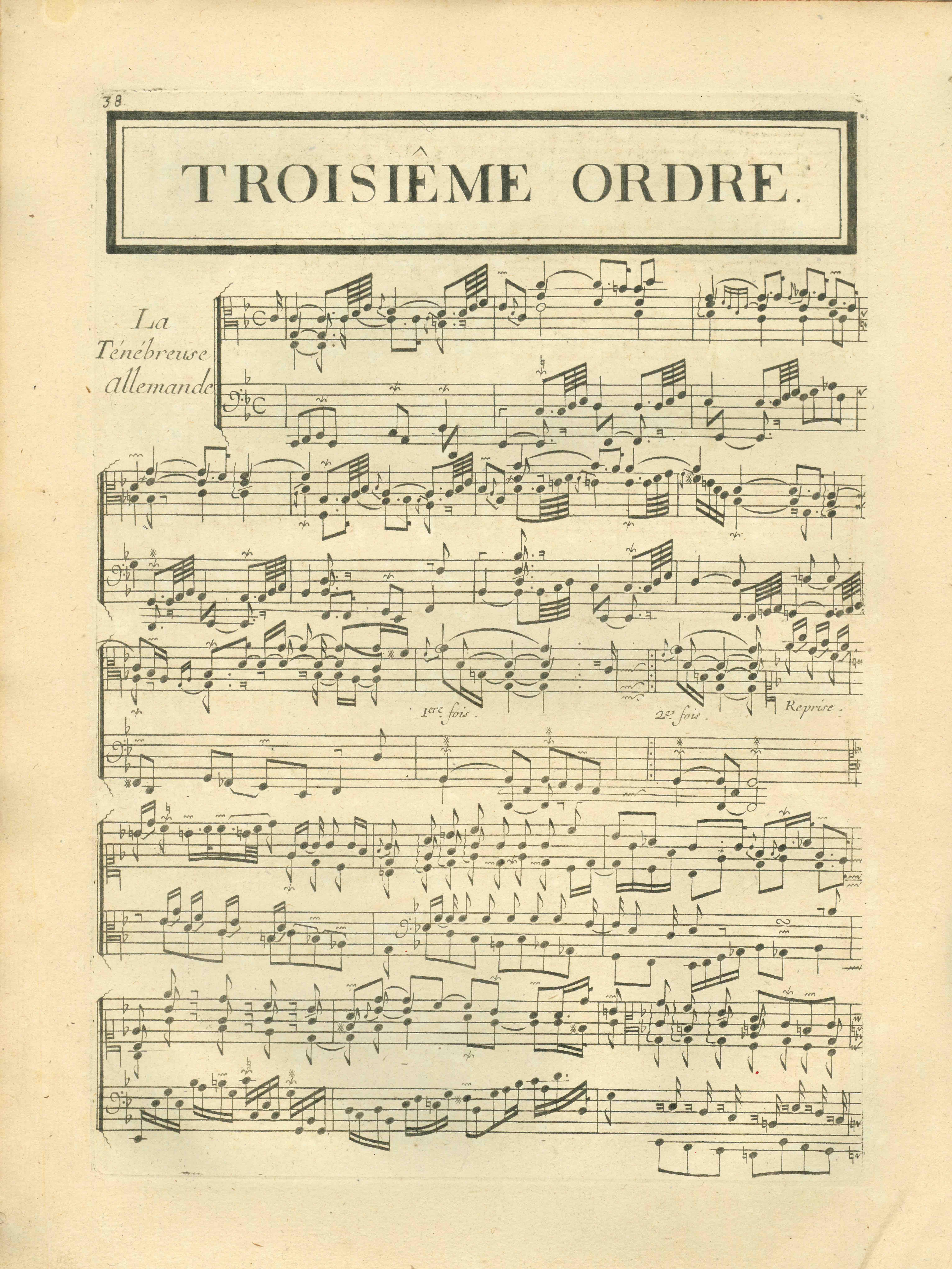 UniM Bail Music RB f  LHD 027 <br> François Couperin, composer ;  <br> Pieces de clavecin. Premier livre  <br> Paris , [1713 or 1734] <br> Hanson-Dyer Collection
