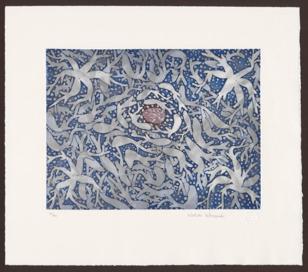 Wanambi, Wukun (1962) Wawurritjpal V (2006) etching plate 24.5cm (H) x 32.6cm (W) sheet 39.1cm (H) x 45.1cm (W) 2017.0004.000.000 Baillieu Library Print Collection, University of Melbourne. Gift of Dr Susan Lowish. Donated through the Australian Government's Cultural Gifts Program, 2017.
