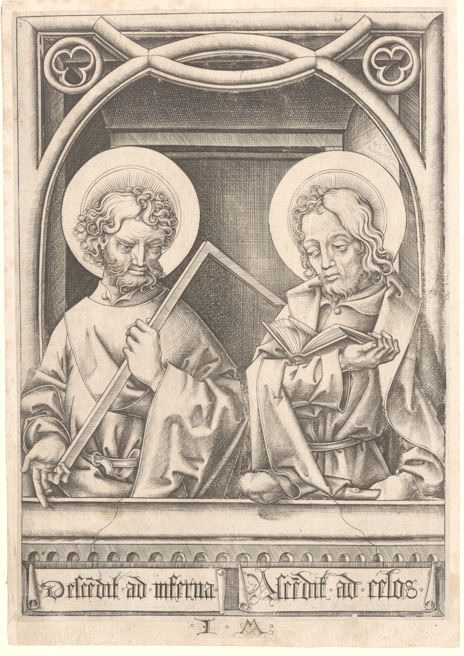 Meckenem, Israhel Van (c. 1440-45-1503) Saints Thomas and James the Less (1480-90) engraving image (sheet trimmed to image) 21.1cm (H) x 14.5cm (W) sheet (adhered) 21.6cm (H) x 15.2cm (W) 1994.2611.000.000 Baillieu Library Collection, the University of Melbourne. Purchased 1994.