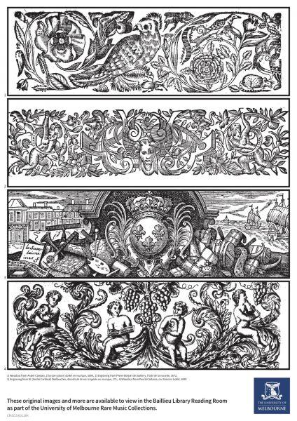 1) Woodcut from André Campra, L'Europe galant: ballet en musique, 1698, 2) Engraving from Pierre Borjon de Scellery, Traité de la musette, 1672, 3) Engraving from M. (André Cardinal) Destouches, Amadis de Grece: tragédie en musique, 171, 4) Woodcut from Pascal Collasse, Les Saisons: ballet, 1695