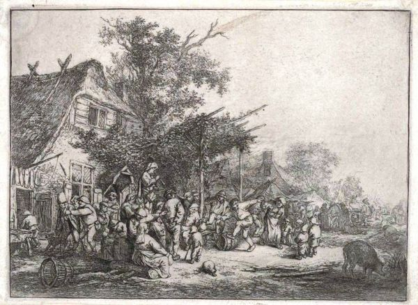 Ostade, Adriaen Van (1610-85) Villiage festival under a trellis (1640-80) etching image 12.6cm (H) x 17.4cm (W) plate 12.8cm (H) x 17.6cm (W) sheet 13.5cm (H) x 18.3cm (W) sheet (adhered) 37.9cm (H) x 30.3cm (W) 1959.4291.000.000 Baillieu Library Print Collection, the University of Melbourne. Gift of Dr J. Orde Poynton 1959.