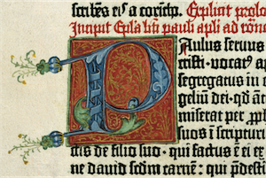 Gutenberg sample, showing lettering