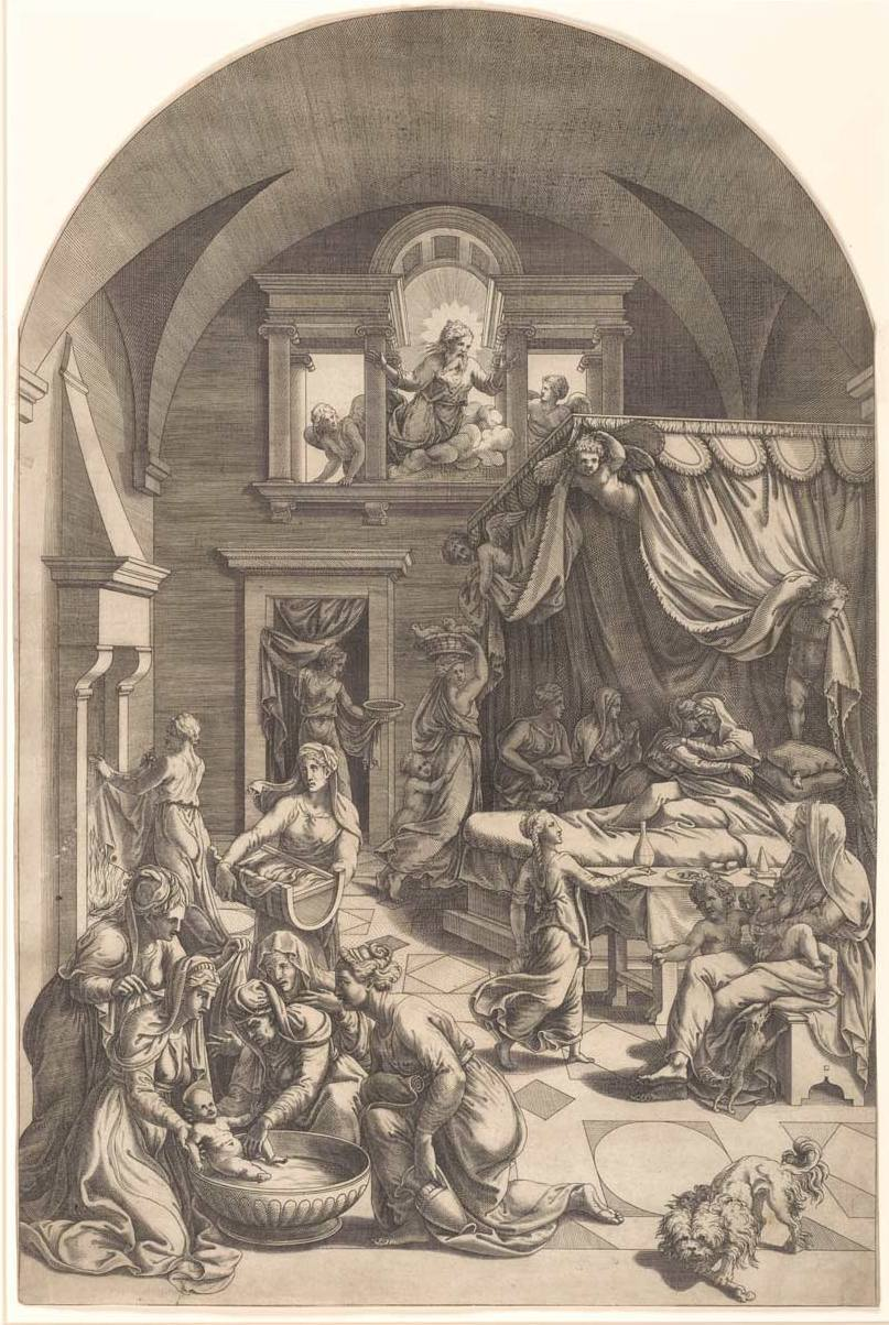 Scultori, Diana (c. 1530-85) Romano, Giulio (Artist, 1499-1546) The Birth of John The Baptist (1547-1612) engraving image (sheet trimmed to image) 45.9cm (H) x 30.3cm (W) 1959.2920.000.000 Baillieu Library Print Collection, the University of Melbourne. Gift of Dr J. Orde Poynton 1959.
